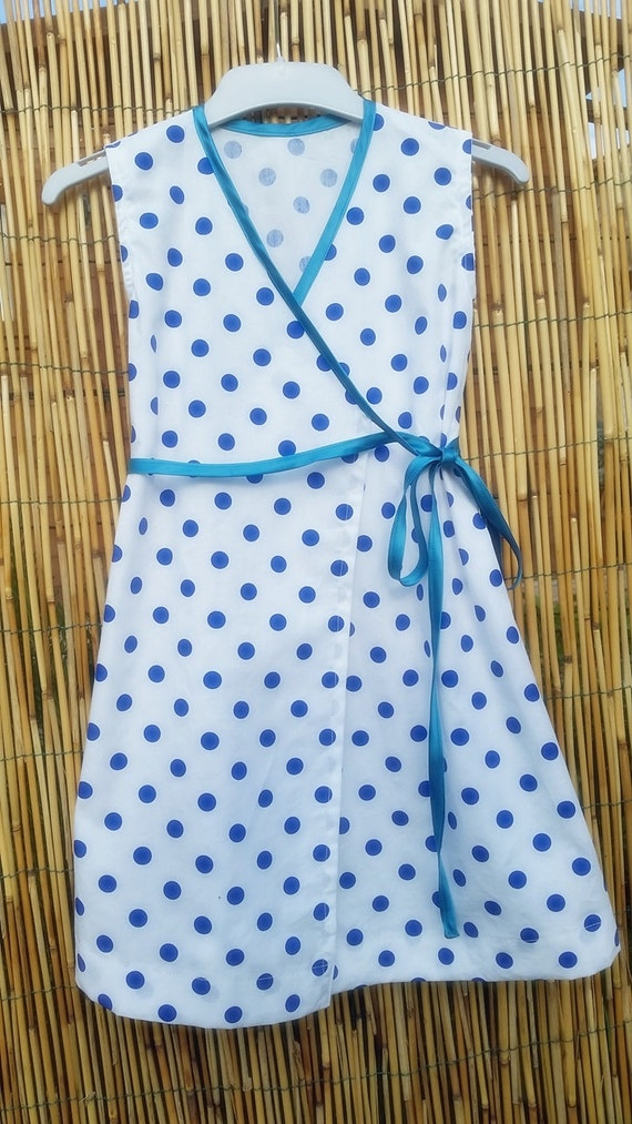 Toddler Dress,   100% Cotton , White and Blue Dress, Nice Summer Girl Dress, Italian Style,  Elegant Girl Dress. Vestitino in Cotone