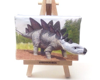 Stegosaurus emerging from miniature canvas - Emergesaurus!