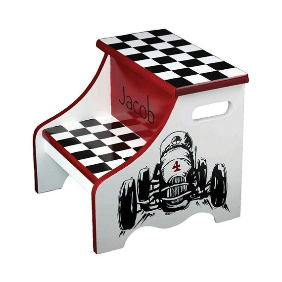 Boys Step Stool Race Car Theme Personalized By Aveqcollection