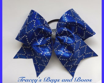 Cheer Bow~Royal cheer bow with rhinestones and silver center~Softball Bow