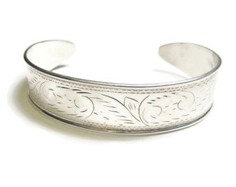 Vintage Sterling Etched Cuff Bracelet 6.5 Inches