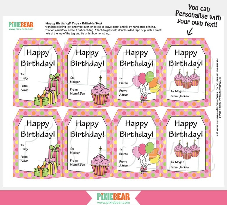 Birthday Gift Tags Personalized Gift Tags Personalized