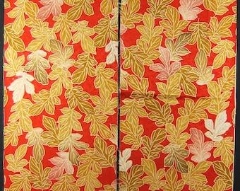 Vintage kimono silk fabric-leaf 2689L