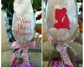 Wine Like A Princess 19 oz Wine Glass, Princess wine glass. Disney princess wine glass