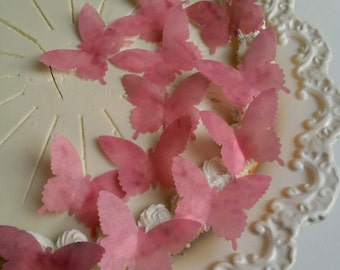 Edible Pink Blossom Wafer Butterflies Cake/Cupcake Toppers Set of 24