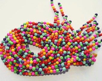 1 Strand Turquoise 6mm round Beads, Multicolored