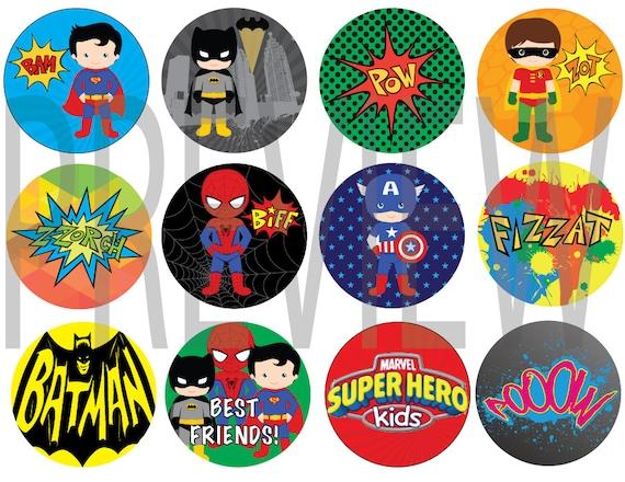 Super Heros Birthday cupcake toppers (digital copy)- Superman, Batman, Hulk, Captain America