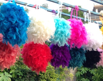 Feather Kissing Balls Pomander Chandelle Feather Balls Decoration Balls Wedding Balls-Multi-colors