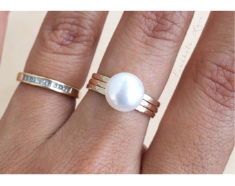 Freshwater pearl stacking rings - Pearl Ring - Freshwater Pearl Ring - white pearl ring - pink pearl ring