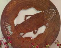Fish Gold Pan Cutout Rusted and Handmade