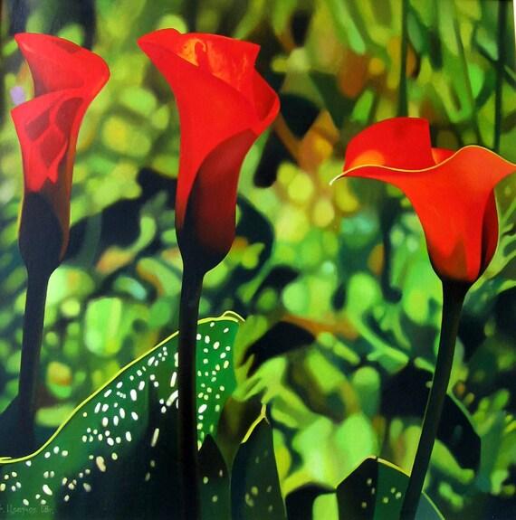 red calla lilien blumen gem lde rote blume frau geschenk. Black Bedroom Furniture Sets. Home Design Ideas