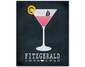 F. Scott Fitzgerald Tender Is The Night - Martini Glass Lemon Peel Sun Boat Drifting Pink Book Lover Gift Idea American Author