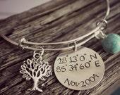 Personalized Silver Bangle, Longitude and Latitude Hand Stamped Bracelet, Coordinates Bracelet, Tree of Life, Adjustable Bracelet, Bangle