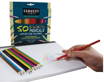 50 Count Assorted Colored Pencils, Variety Of Colored Pencils For Beginning Artist Sketching, High Pigment And Color Coverage Artist Pencils