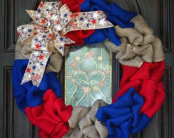 Patriotic Burlap Wreath-Fourth of July-Military-Memorial Day
