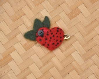 Strawberry Heart Pin/Brooch, Strawberry Lovers, Heart Shaped Strawberry, Strawberry Love, Strawberry Jewelry