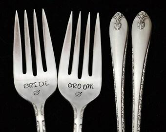 hand stamped forks bride groom vintage wedding silverware engraved fork engagement gift stamped dessert