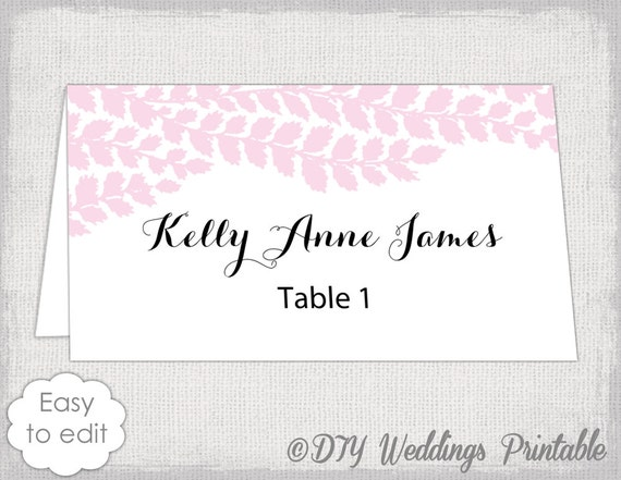 place card template pale pink diy wedding name cards