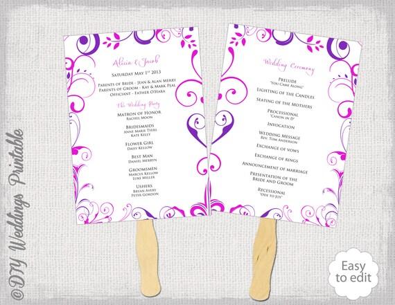 Wedding Program Fan Template Pink And Purple DIY