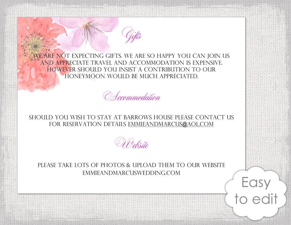 wedding accommodation card template free