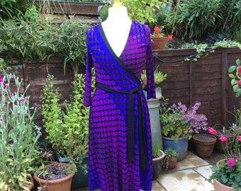 Vintage Next UK 12 US 8 EU 40 faux wrap dress  purple and black Deadstock no tags.