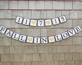 Fall in Love Banner, Fall Bridal Shower Decor, Fall In Love Garland, Fall Save the Date, Fall Wedding Decor, Gold Glitter, Engaged Banner