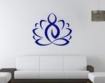 Wall Decal, Lotus, Yoga Zen Meditation, Bedroom Wall Decal, Yoga Studio Wall