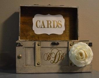 Medium Vintage Wedding Card Box Holder Rustic Trunk