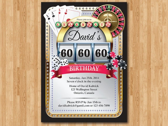 60th Casino Birthday Invitation Poker Playing Card Gold