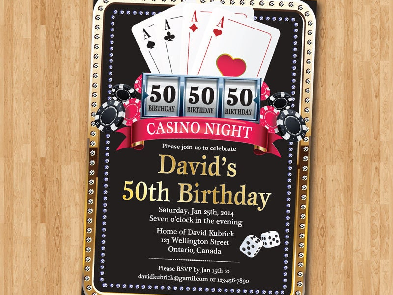 Casino 50th Birthday Invitation Poker Playing Card Gold – Poker Birthday Cards