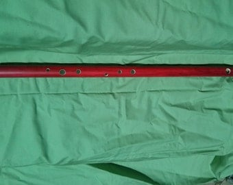 PVC Flute Key of D-Handmade and Dyed-Red