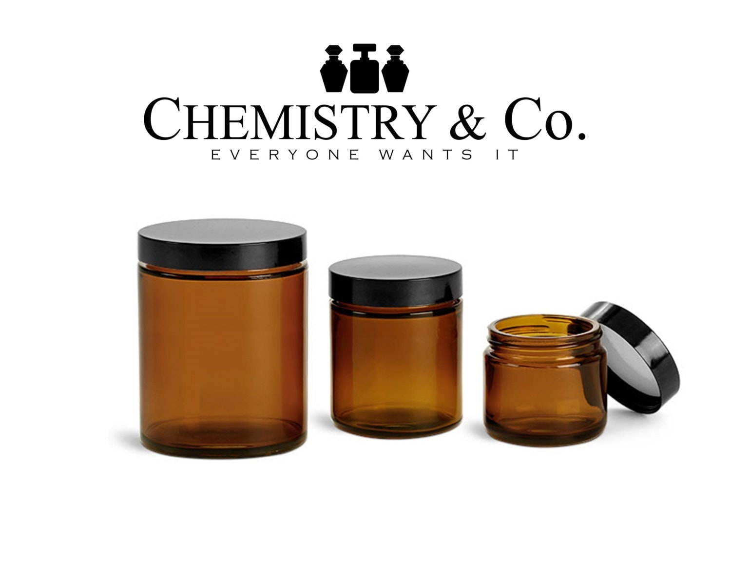 3 amber glass jars 4 oz 120 ml w black caps for by chemistryco. Black Bedroom Furniture Sets. Home Design Ideas