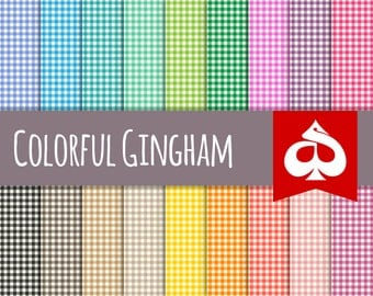 Colorful Gingham Digital Paper Pattern Clipart