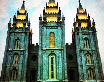 "Salt Lake City ""Emerald"" Temple Print 18""x24"""