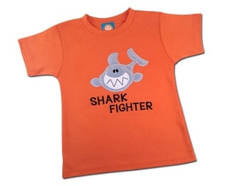 Boy Shark Shirt with Embroidered Name