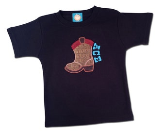 Cowboy Boot Shirt with Embroidered Name