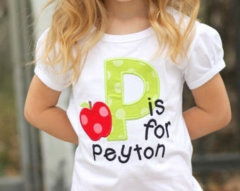 Girl Alphabet Apple School Shirt with Initial and Name