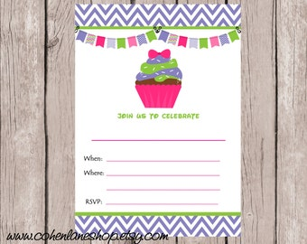 Instant Download Fill In Cupcake Party Invite. Fill in Invitations.  Cupcake Birthday Invitation.  Cute Cupcake Party Invite.