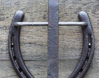Railroad Spike Horse Shoe Door Knocker