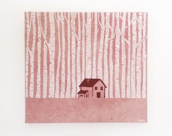 House in the birch forest - Linocut ready to hang on the wall