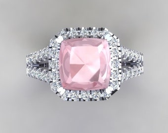 Morganite Split Shank Engagement Ring 2.0ct Cushion Cut Ring 1.10ct Natural Diamonds Halo Wedding Rings White Gold Pristine Custom Rings