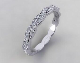 Diamond Eternity Wedding Band Twist Band .21ct Round Natural Diamonds Engagement Ring Anniversary Wedding band Pristine Custom Rings