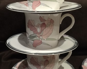 """Noritake """"New Decade"""" Cup & Saucer Set in the retired Café Du Soir pattern - 3 Sets available"""