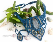 """Macrame necklace, macrame jewelry, necklace """"Marina"""" with agate, macrame with stone, macrame necklace with agate"""