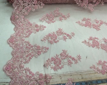 Elegant pink hand beaded mesh lace. Wedding/Bridal fabric lace.36x50inches. Sold by the yard.