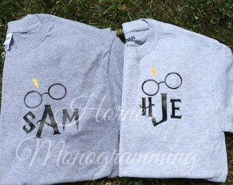 Harry Potter Monogrammed Long Sleeve Tshirt ((HTV))