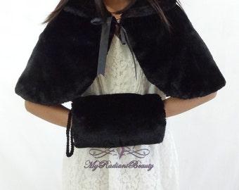 Faux Fur Mink Cape With Handmuff Bundle, Shawl, Flower Girl Mink Cape, Kid Wrap, Wedding Shrug, Kid Fur Stole, Fur Wrap, Fur Stole KC108-BLK