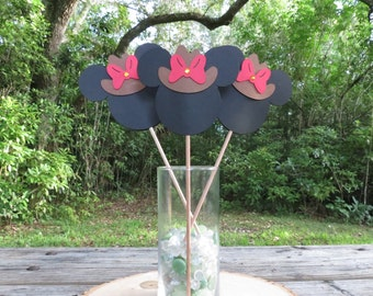 READY TO SHIP - Set of 3 - Western Cowgirl Minnie Mouse Red Table Decorations
