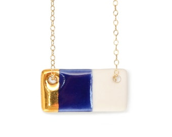 blue porcelain bar necklace, gold dipped and royal blue necklace, rectangle necklace, free shipping