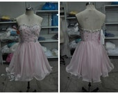 Short Chiffon Crystal Pink Prom Dress/ Sweetheart Party Dresses/ Strapless Cocktail Dress/ Homecoming Dress 2015